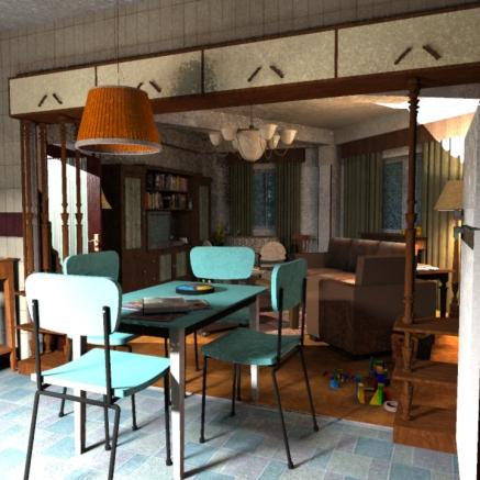 SketchUp render-- Kitchen / Living Room 01