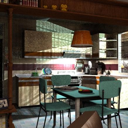SketchUp render-- Kitchen / Living Room 03