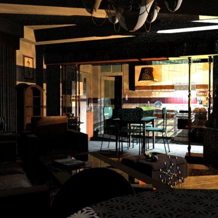 SketchUp render-- Kitchen / Living Room 04
