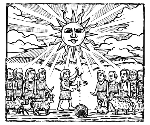Old Print featuring Guanche´s ritual with a sacrifice (Alexis Fibla)