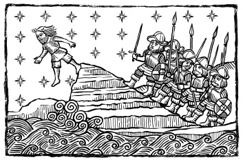 Old Print featuring Guanche fleeing from Spanish Army (Alexis Fibla)